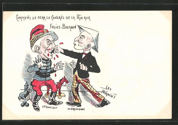 Künstler-AK sign. Philippe Norwins: Karikatur von General Gallifet und de Freycynet