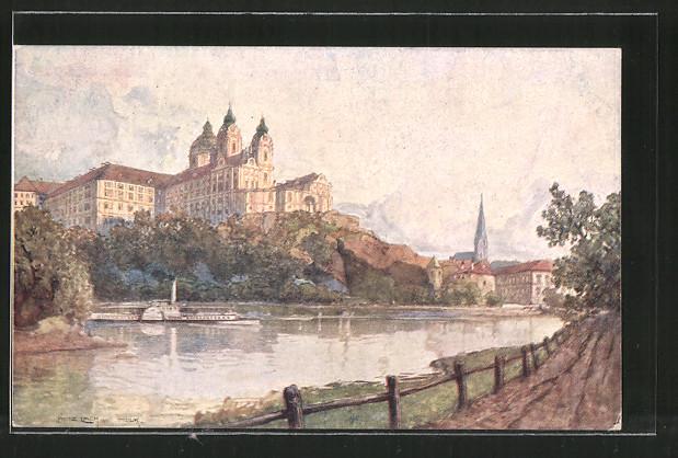 Künstler-AK Fritz Lach: Melk, Partie mit Benediktinerstift, Nibelungenweg