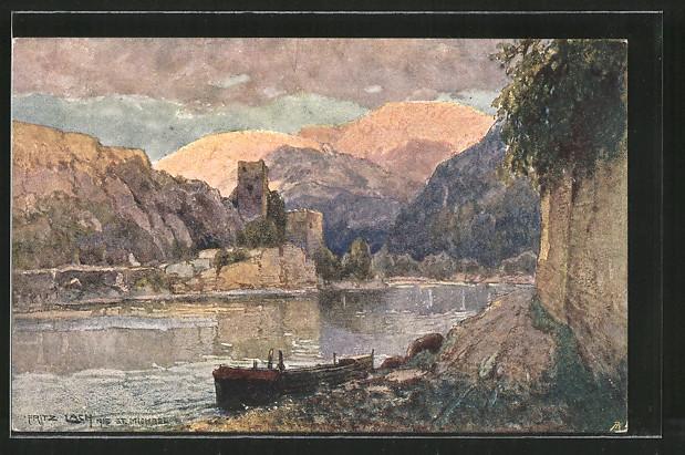 Künstler-AK Fritz Lach: St. Michael, Panorama, Nibelungenweg