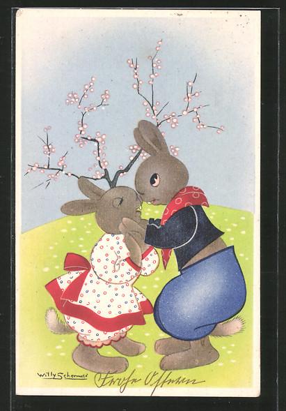Künstler-AK Willy Schermele: verliebte Osterhasen