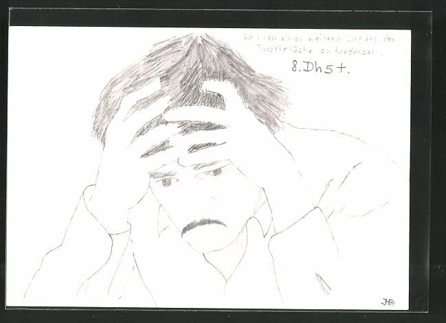 Künstler-AK Handgemalt: Bildnis eines Denkers
