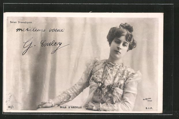 Foto-AK Atelier Reutlinger, Paris: Schauspielerin Portrait Milo d'Arcylle