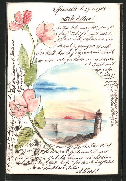 Künstler-AK Handgemalt: Leuchtturmpanorama und Blume