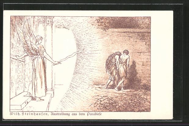 Künstler-AK Wilhelm Steinhausen: Darstellung der Austreibung aus dem Paradiese