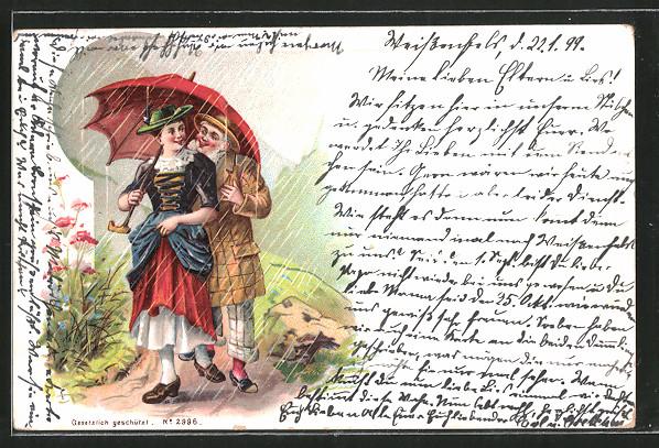 Lithographie glücklicher Mann bei Maid unterm Regenschirm