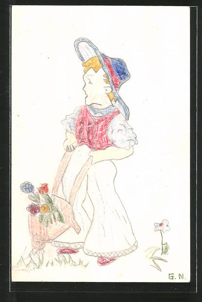 Künstler-AK Handgemalt: Knabe mit Schubkarre voll Blumen
