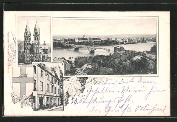 AK Koblenz, Kirche, Ortsansicht mit Brücke, Geschäft, Wappen