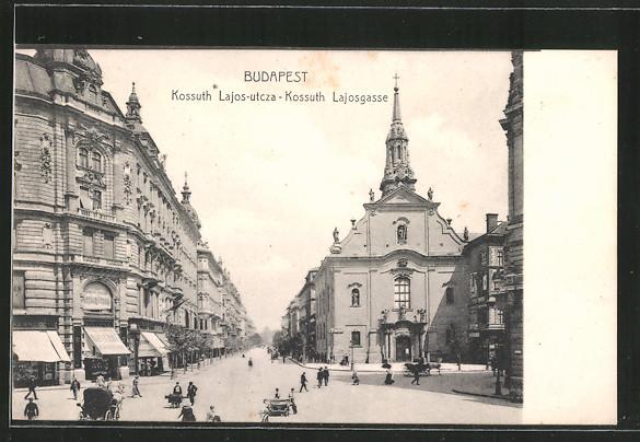 AK Budapest, Kossuth Lajos-utcza, Kossuth Lajos-Gasse, Pferdekutsche