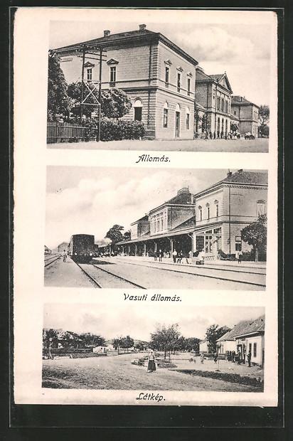 AK Füzesabony, Allómas, Vasuti állomás, Látkép, Bahnhof, Eisenbahn