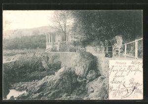 AK Abbazia, Strand bei Villa Neptun