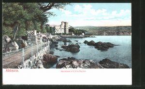 AK Abbazia, Nordstrand mit Villa Neptun