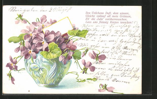 AK Veilchen in einer Vase mit Sinnspruch