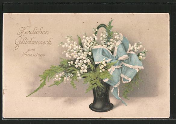 Präge-AK Maiglöckchen in einer Vase mit Schleife zum Namenstag