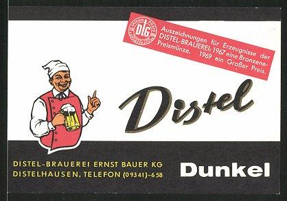 Getränkeetikett Distel Dunkel, Distel-Brauerei Ernst Bauer KG, Distelhausen