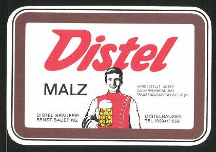 Getränkeetikett Distel Malz, Distel-Brauerei Ernst Bauer KG, Distelhausen