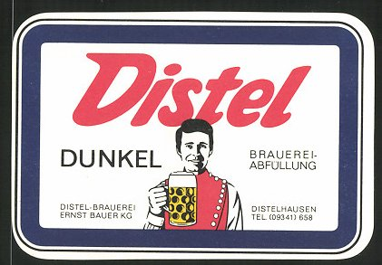 Getränkeetikett Distel Dunkel, Distel Brauerei Ernst Bauer KG, Distelhausen