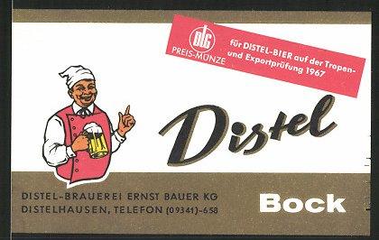 Getränkeetikett Distel Bock, Distel-Brauerei Ernst Bauer KG, Distelhausen
