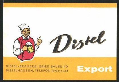 Getränkeetikett Distel Export, Distel-Brauerei Ernst Bauer KG, Distelhausen