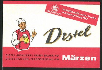 Getränkeetikett Distel Märzen, Distel-Brauerei Ernst Bauer KG, Distelhausen