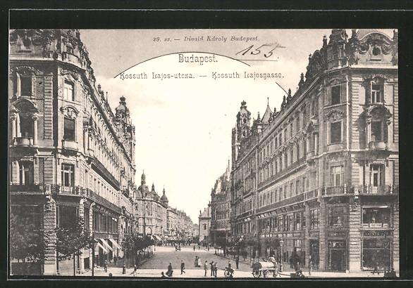 AK Budapest, Kossuth Lajos-utcza / Kossuth Lajosgasse