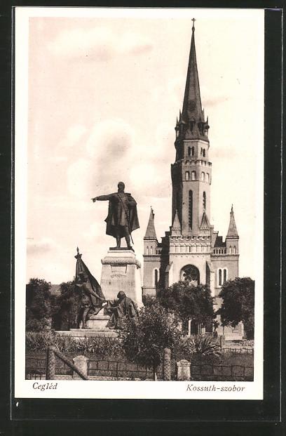 AK Cegléd, Kossúth-szobor, Kossuth-Denkmal und Kirche
