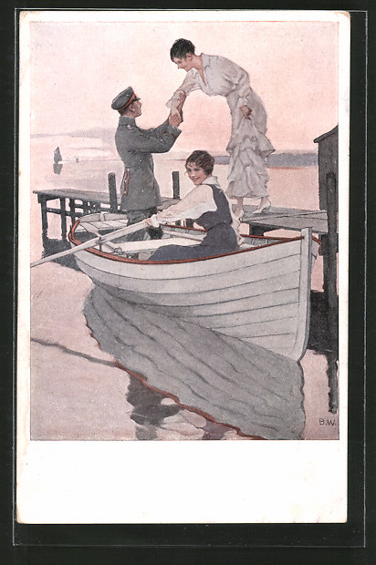 Künstler-AK Brynolf Wennerberg: Soldat unternimmt mit zwei Frauen einen Bootsausflug