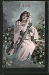 AK Allegorie Hoffnung, Frau umfasst einen Anker mit Händen zum Gebet gefaltet