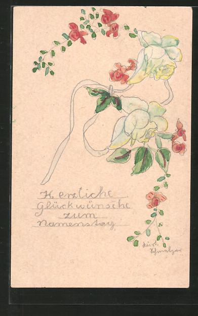Künstler-AK Handgemalt: Glückwünsche zum Namenstag, Rosenblüten