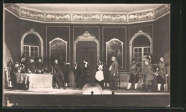 AK Der Hias, ein felgraues Spiel, Darsteller auf der Bühne, Theaterszene