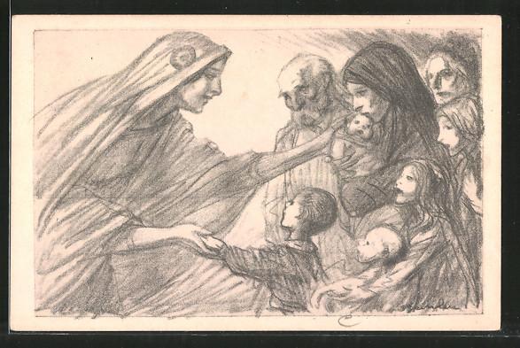 Künstler-AK Marianne mit Witwen und Waisen