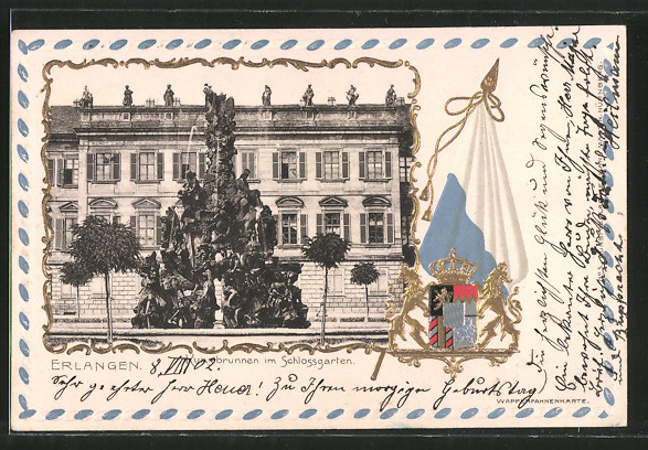 Passepartout-Lithographie Erlangen, Kunstbrunnen im Schlossgarten, Wappen, Fahne