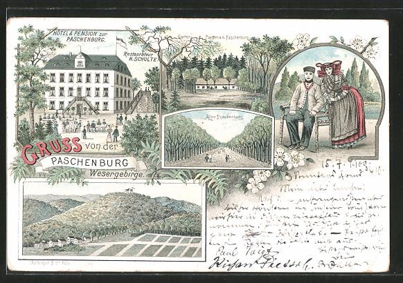 Lithographie Rinteln, Hotel Pension zur Paschenburg v. H. Schulte, Allee Paschenburg, Liebespaar in Tracht