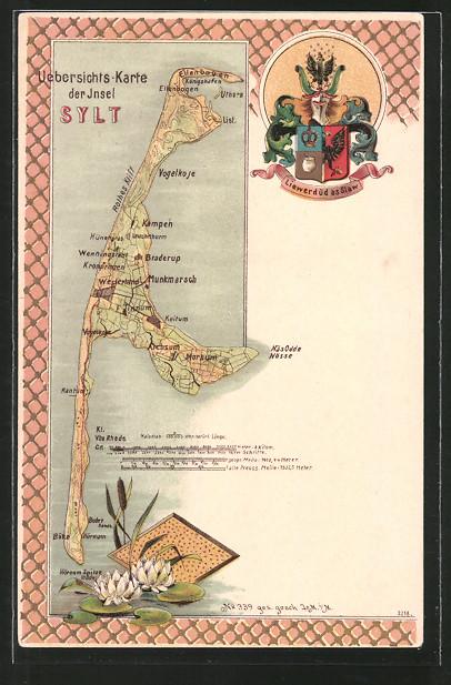 Lithographie Westerland, Landkarte der Ortschaft mit Umgebung auf der Insel Sylt, Wappen