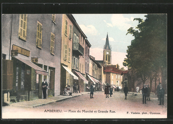 AK Ambérieu, Place du Marché et Grande Rue