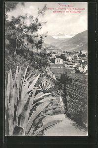 AK Gries-Bozen, Blick von der Erzherzog Heinrich-Promenade auf die Stadt und den Rosengarten