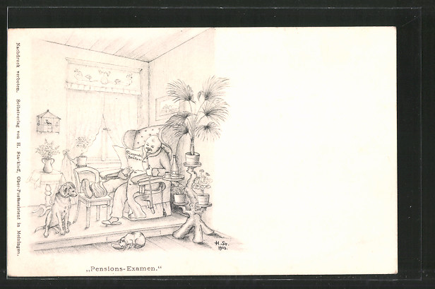 Künstler-AK H. Starkloff: Pensions-Examen