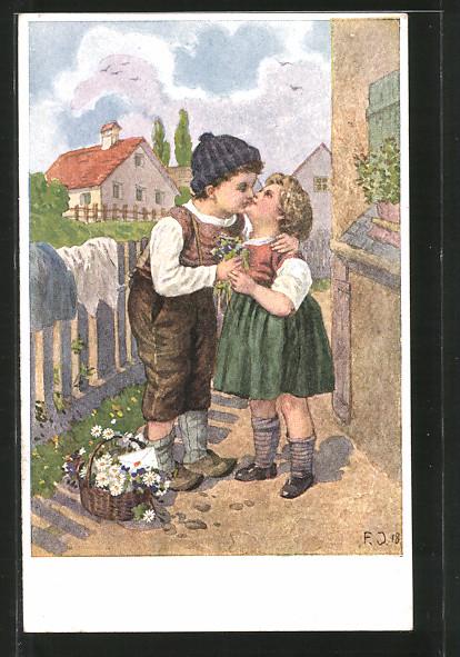 Künstler-AK Franz Jüchtzer: Der ersten Liebe goldne Zeit, Knabe und Mädel