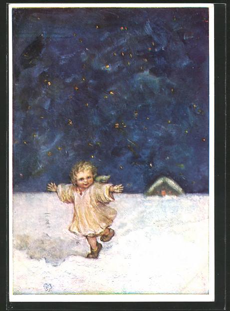 Künstler-AK Maria Spötl: Kleinkind läuft nachts durch den Schnee, in der Ferne ein Haus