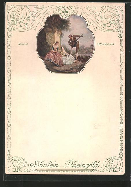 AK Reklame für Sekt Söhnlein Rheingold, Mann musiziert für zwei Frauen,