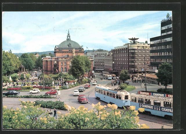 AK Oslo, Utsikt fra Slottsparken meg Nationaltheatret, Strassenbahn