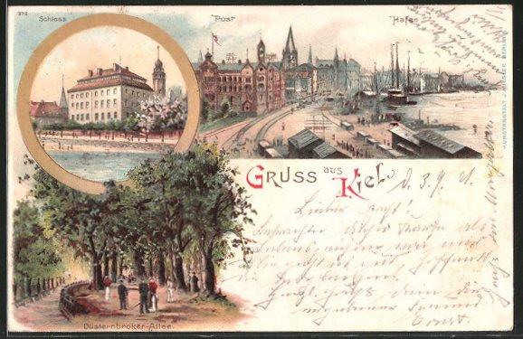 Lithographie Kiel, Hafen, Post, Schloss, Segelboote