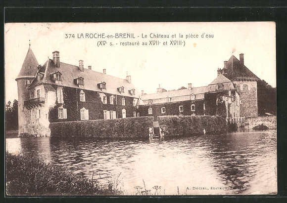 AK La-Roche-en-Brenil, le château et la piéce d'eau