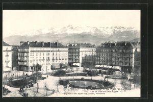 AK Grenoble, la place Victor-Hugo et la chaîne des Alpes