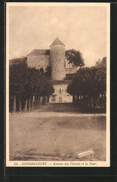 AK Gondrecourt, avenue des Tilleuls et la tour