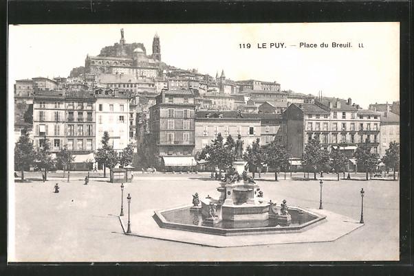 AK Le-Puy, place du Breuil, la fontaine