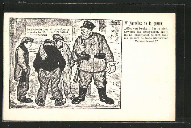 Künstler-AK Lille, Nouvelles de la guerre, Karikatur mit deutschem Landsturmmann und Bürgern aus Lille