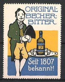 Reklamemarke Original Becher-Bitter, Mann & Tablett mit Flasche Bitter-Likör
