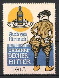 Reklamemarke Original Becher Bitter, Mann mit Reitgerte betrachtet Tablett mit Flasche Bitter-Likör