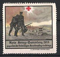 Reklamemarke Deutsches Rotes Kreuz, Sammlung 1914, Rot Kr euz Sanitäter & verwundeter Soldat