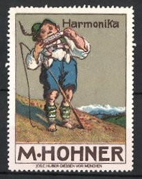 Reklamemarke Harmonika M. Hohner, Hirtenknabe spielt auf Mundharmonika